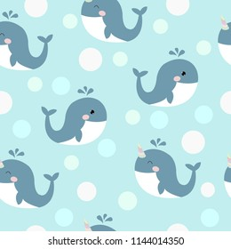 Seamless pattern with cute cartoon whales. Vector sea background for kids. Child drawing style cartoon baby animals underwater illustration. Design for fabric, textile, decor.