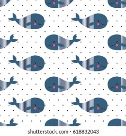 Seamless pattern with cute cartoon whales on polka dots background. Vector sea background for kids. Child drawing style cartoon baby animals underwater illustration. Design for fabric, textile, decor.