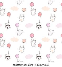 Seamless Pattern of Cute Cartoon White Bear, Koala, Panda, Bunny and Balloon Design on White Background