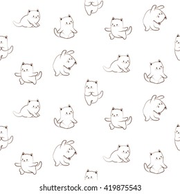 Seamless pattern of cute cat characters practicing yoga. Cartoon outlined sketch of cat in yoga poses on white background. Funny ornament. Animal yoga concept. Kitten doing yoga. Print design.