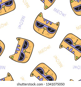 Seamless pattern with cute cat faces