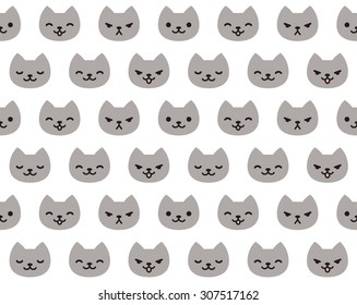 Seamless pattern of cute cat faces with different emotions.