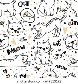 Seamless pattern with Cute cat. Pet animal vector illustration