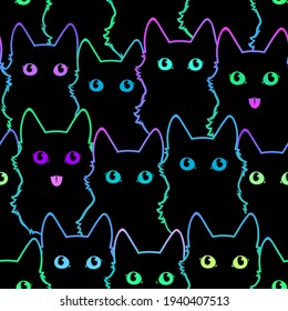 seamless pattern of cute cat silhouettes