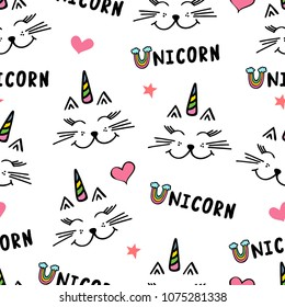 Seamless pattern with cute caticorn. and word unicorn. Design for fabric, apparel, textile. Hand drawn vector illustration.