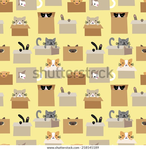 Seamless pattern with cute cats in boxes 1
