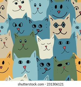 Seamless pattern with cute cats in cartoon style. Vector illustration.