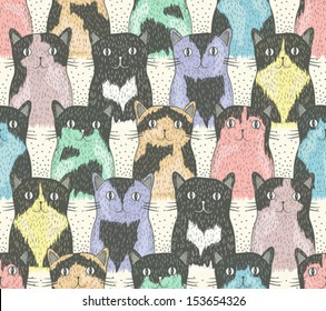 seamless pattern with cute cats for children cat