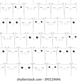 Seamless pattern with cute cats. Elegant thin line style design.