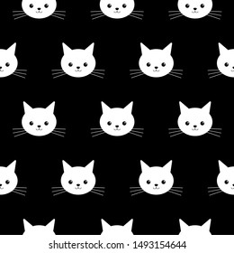 Seamless pattern of the cute cats face on a black background, vector