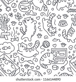 Seamless pattern with cute cats line drawing. Playful kitten background, cat sleeping in box, play with computer, aquarium. Funny pet hand-drawn illustration in doodle style for kids fabric.