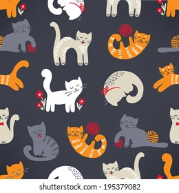Seamless pattern with cute cats. Perfect for wallpapers, pattern fills, web page backgrounds, surface textures, textile.