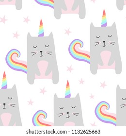 Seamless pattern with cute cats unicorn. Cartoon cat vector illustration. Perfect for kids fabric, textile, nursery wallpaper.
