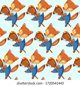 Seamless pattern. Cute character fox with baby toy horse. Flat cartoon style.