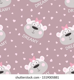 seamless pattern of cute cheeky monkey with bow and lettering dreamy isolated on hearts background, tshirt design for any vector illustration