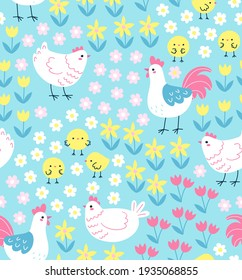 Seamless pattern with cute chickens and roosters on floral background. Springtime vector illustration in trendy hand-drawn style. Swatch is included.