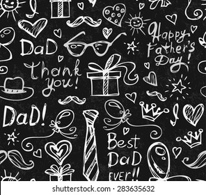 Seamless Pattern with Cute Childish Holiday Doodles for Father's Day Written in Chalk on Blackboard. Vector  Illustration.