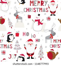 Seamless pattern with cute Christmas character suitable for wrapping, wallpaper and decoration
