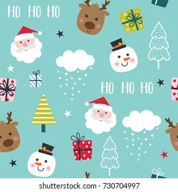 Seamless pattern with cute Christmas character
