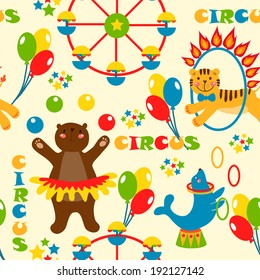 seamless pattern with cute circus animals. vector illustration