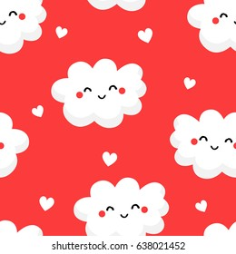 Seamless pattern with cute clouds and hearts on red background. Ornament for children's textiles and wrapping. Flat style. Vector.