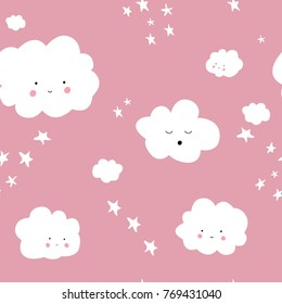 Seamless pattern with cute clouds. Pink background. Seamless design, vector editable file