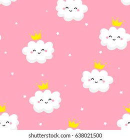 Seamless pattern with cute clouds princess and stars on pink background. Ornament for children's textiles and wrapping. Flat style. Vector.
