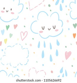 Seamless pattern with cute clouds and rain