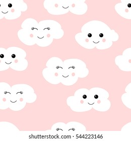 Seamless pattern with cute clouds. Vector, eps10. White clouds on pink background.