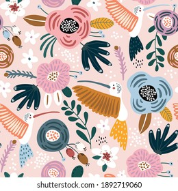 Seamless pattern with cute colibri birds and flowers . Creative floral texture. Great for fabric, textile Vector Illustration