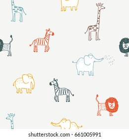 Seamless pattern with cute color animals