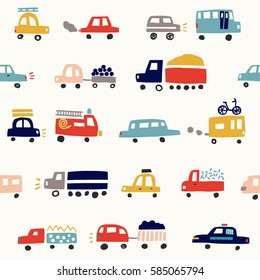 Seamless pattern with cute color cars