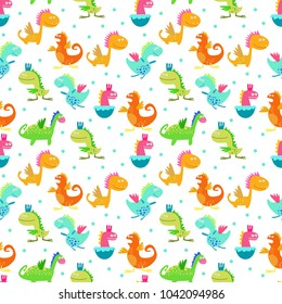 Seamless pattern. Cute color dinosaurs