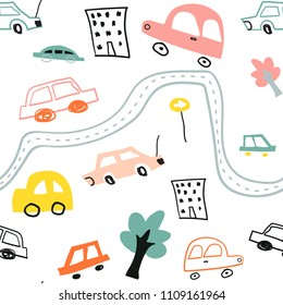 Seamless pattern with cute color kids cars