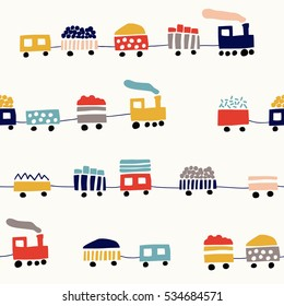 Seamless pattern with cute color trains