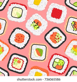 Seamless pattern of cute colored sushi rolls. Vector collection of different flavours and kinds
