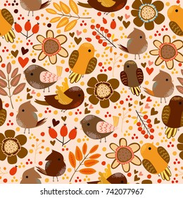 Seamless pattern with cute colorful birds. used for wallpaper, background, packaging, fabrics, websites, papers