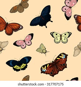Seamless pattern with cute colorful butterflies