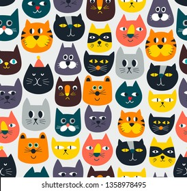 Seamless pattern with cute colorful Cats and Kittens. Creative childish texture hand drawn in retro scandinavian style. Great for baby fabric, textile or wallpaper. Vector endless  Illustration.