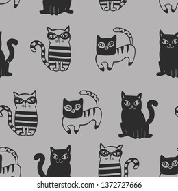 Seamless pattern with cute colorful Kittens. Creative childish gray texture. Great for fabric, textile Vector Illustration