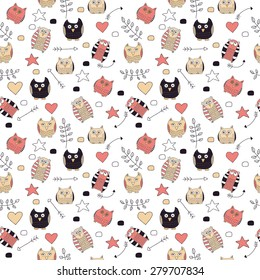 Seamless pattern with cute colorful owls and decoration elements: arrows, branches, hearts, dots in restrained colors. Vector illustration.