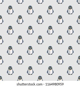 Seamless Pattern Cute Cool Animal Sealife Pinguin .Pattern suitable for posters, postcards, fabric or wrapping paper.