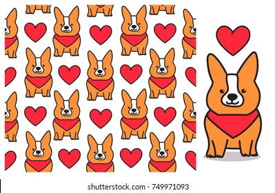 Seamless pattern with cute corgi dog. Tile background for your design, fabric textile, wallpaper or wrapping paper.