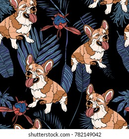 Seamless pattern with cute corgi dog, tropical leaves and peony bouton. Vector illustration. Typography design elements for prints, cards, posters, products packaging, branding