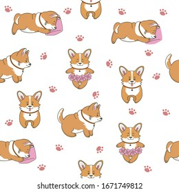 Seamless pattern of cute corgi dogs. Little puppies are standing, eating, sleeping. Isolated objects. Vector cartoon illustration for print, postcard, wallpaper, textile, stickers.