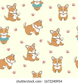 Seamless pattern of cute corgi dogs. Little puppies are standing, eating, dancing. Isolated objects. Vector cartoon illustration for print, postcard, wallpaper, textile, stickers.