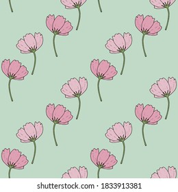 Seamless pattern with cute cosmea flowers on light green background. Vector image.