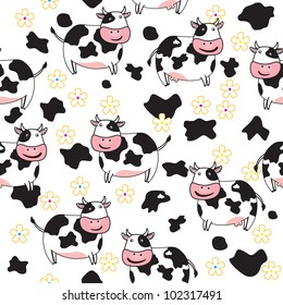 Seamless  pattern of cute cow