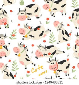 Seamless pattern with cute Cows character in various positions. Vector illustration for your design