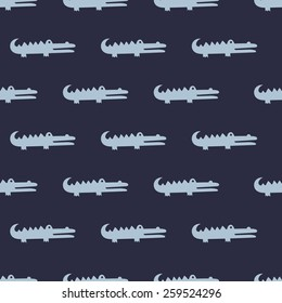 seamless pattern, cute crocodile vector art  background design for fabric and decor